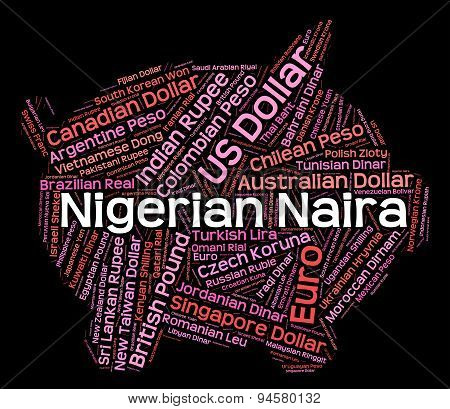 Nigerian Naira Indicates Foreign Currency And Banknotes