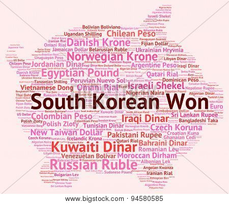 South Korean Won Shows Exchange Rate And Coin