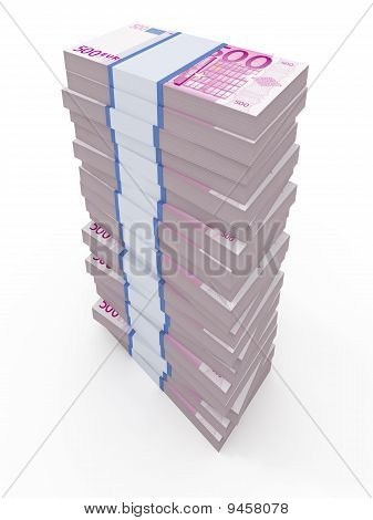500 euro stacks isolated on white