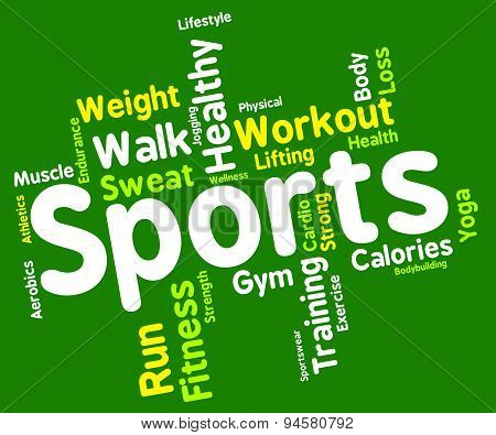 Sports Word Shows Getting Fit And Exercising