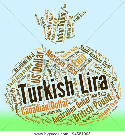 Turkish Lira Represents Turkey Liras And Currency