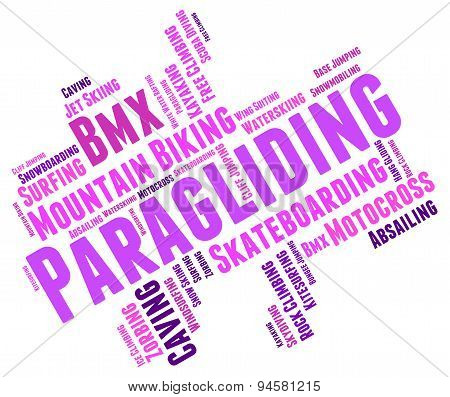 Paragliding Word Represents Words Paraglide And Text