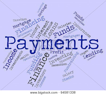 Payments Word Shows Pays Bill And Instalment