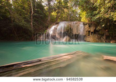 Deep forest blue stream waterfall