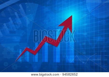 Red Arrow Head With Financial Chart And Graph, Success Business, Elements Of This Image Furnished By