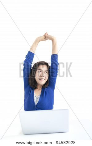 Business Woman Do Stretch With Laptop In Front