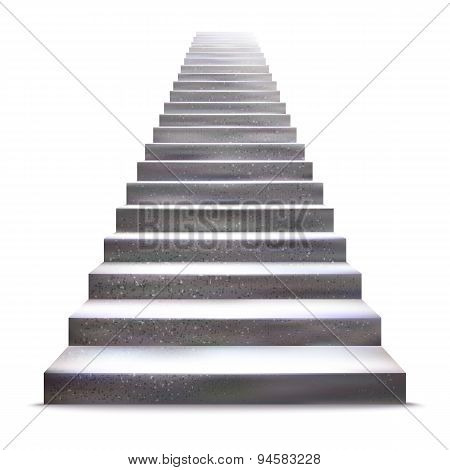 Realistic Stone Ladder Vector Illustration