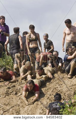 Solidarity Through The Participants At Mud Run