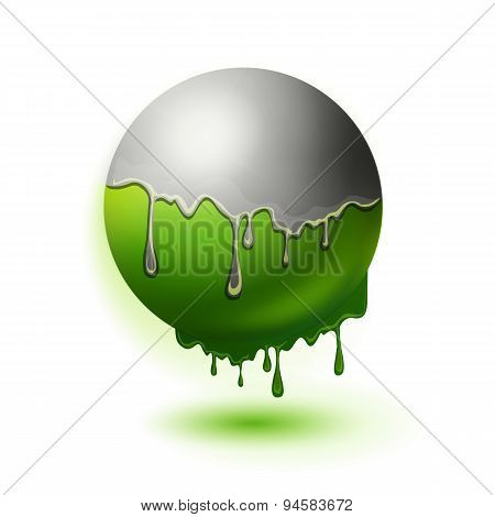 Melting Green Sphere Illustration