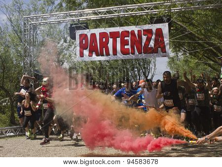 Colored Gun Shot At The Beginning Of Inferno Run Mud Race Near Florence