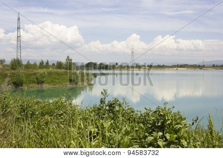 Peaceful Lake Inside Renai Park In Signa, Italy