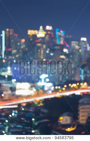 Cityscape skyline bokeh lights during twilight