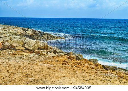 Beach And The Blue Sea. Paphos, Cyprus.