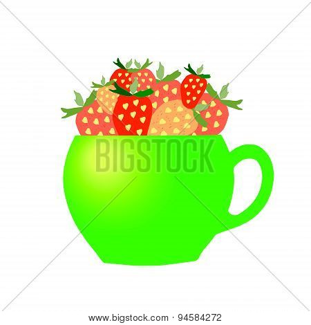 Green cup with Strawberries.