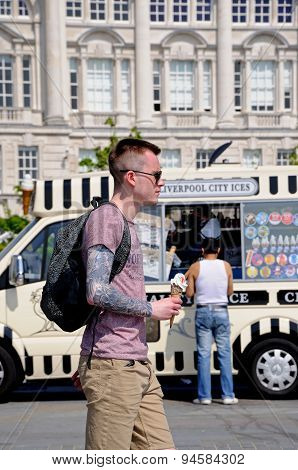 Young man with ice cream, Liverpool.