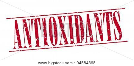 Antioxidants Red Grunge Vintage Stamp Isolated On White Background