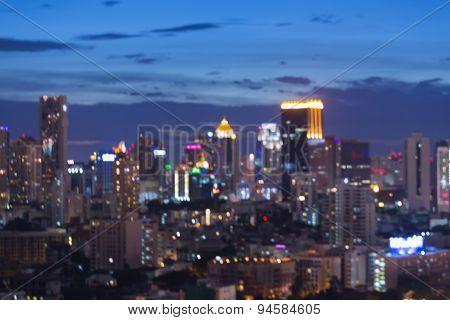 Abstract blur bokeh big city lights during twilight