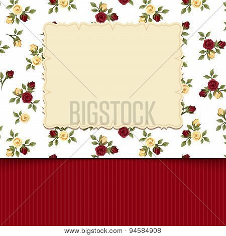 Vintage card with roses. Vector illustration.