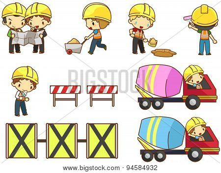 Cartoon Children Engineer, Technician, And Labor Worker Working On A Construction Site Building Icon