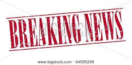Breaking News Red Grunge Vintage Stamp Isolated On White Background