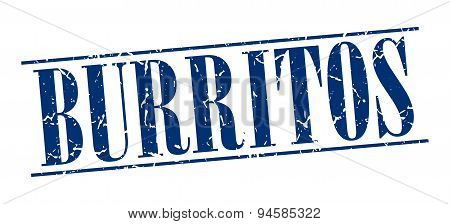 Burritos Blue Grunge Vintage Stamp Isolated On White Background
