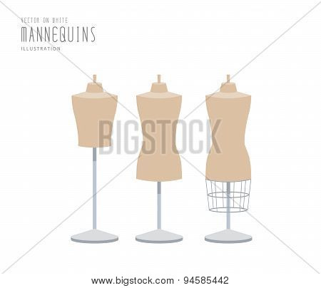 Mannequins Flat Vector.