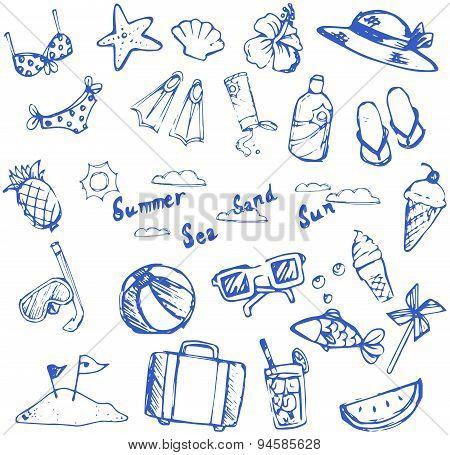 Summer Holiday Doodle Icon And Leisure Sport Item And Marine Animal Collection Set, Create By Vector