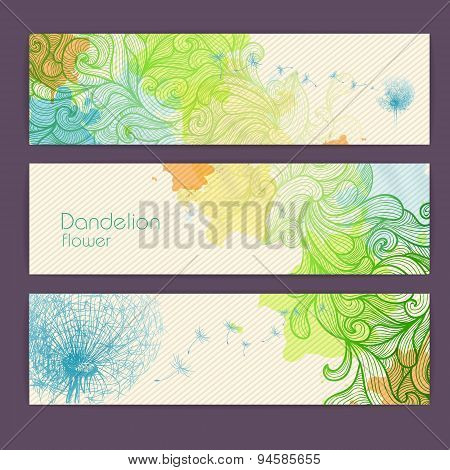 Set Of Ornamental Artistic Watercolor Banners With Dandelion