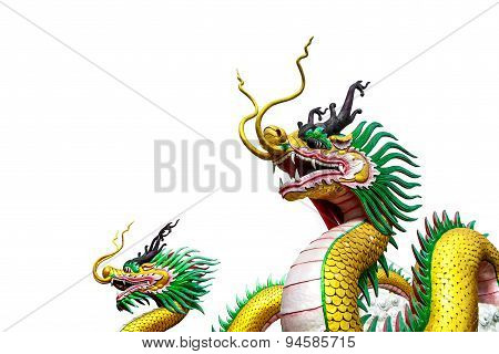 Chinese Dragon Statue Isolated On White