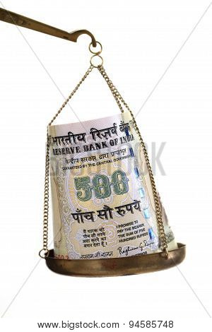 Indian Currency Note In Justice Scale