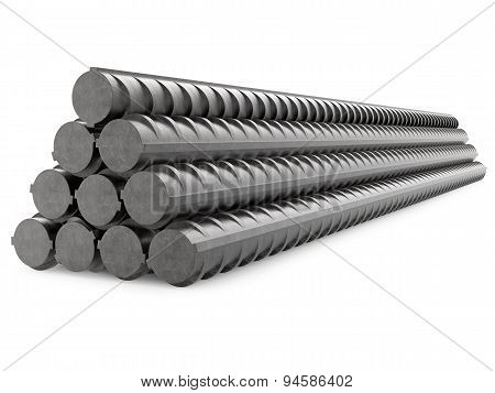 Metal Rebars, Reinforcement Steel, Isolated on White