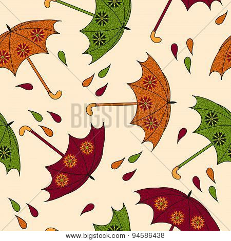 Seamless Pattern With An Umbrella.