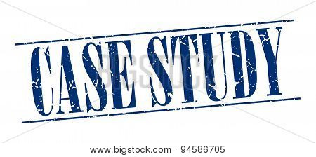 Case Study Blue Grunge Vintage Stamp Isolated On White Background