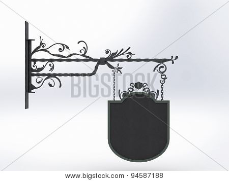 Forged Signboard With Chain And Blank Patterns On White Background