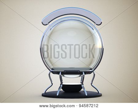 Glass Sphere On An Iron Stand With Backlit Sign On Pure White Background