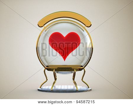Glass Sphere With A Heart In A Gold Frame On A Stand With A Clean Sign Isolated