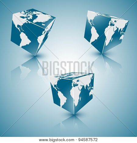 set of square blue abstract planet-earth, eps 10.