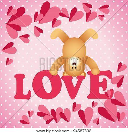 Love teddy bear on a background