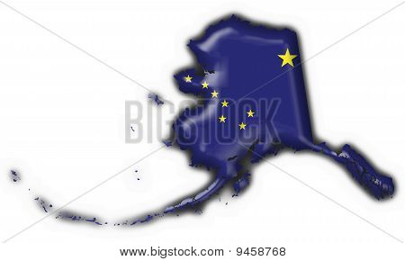 Alaska (usa State) Button Flag Map Shape