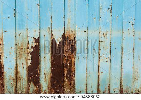 Old Rusty Galvanized Fence Slide Door  Placed Vertically