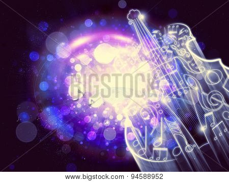Abstract Violin On Bokeh Background