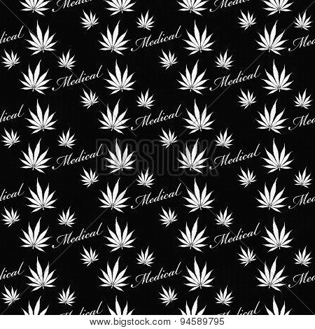 Black And White Medical Marijuana Tile Pattern Repeat Background
