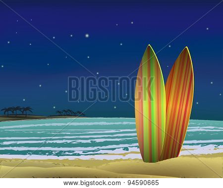 Beach with surf boards at night. vector.