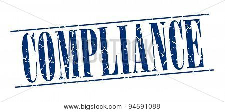 Compliance Blue Grunge Vintage Stamp Isolated On White Background