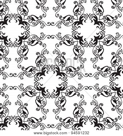 Black-white floral seamless ornament