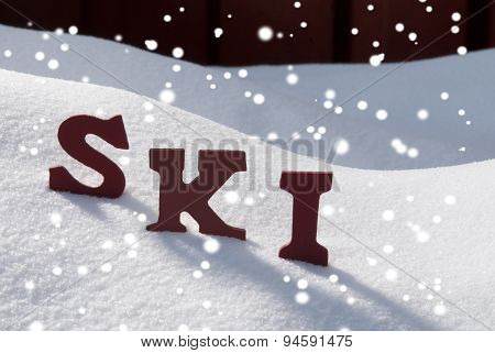 Ski On Snow With Snowflakes Christmas Season
