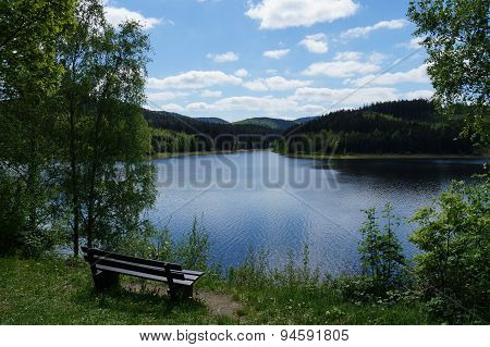 Bench with a beautiful lake view