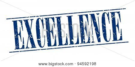 Excellence Blue Grunge Vintage Stamp Isolated On White Background