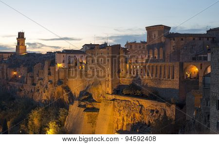 Pitigliano By Night, Typical Village Of The Italian Tuscany Land