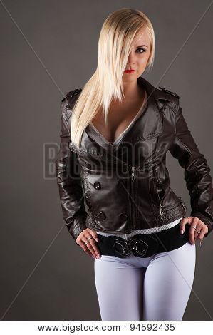 sexy woman in a jacket
